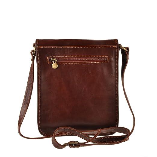 Pellevera Ravenne sac italienne messager de cuir. sac mortuaire croix (brun) tsJJmxS