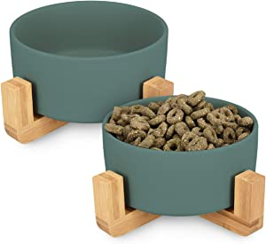 Navaris Ceramic Elevated Cat Bowls - Raised Double Food and Water Bowl Set for Cats and Small Dogs with Wood Stands - No Spill Eco Friendly Pet Bowls