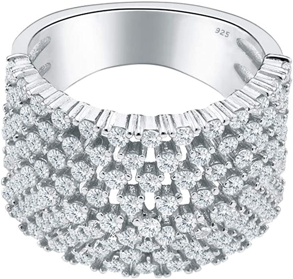 Lavencious 925 Sterling Silver Rhodium Plated with 9 Rows AAA CZ Stones Statement Rings for Women Size 6-10