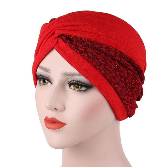 0c33a45fd5d Coerni Women Cotton Muslim India Ruffle Turban Head Wrap Cap Slouchy Beanie  Hat  Cancer Hats for Chemo SALE (Black) (Red)  Amazon.ca  Clothing    Accessories