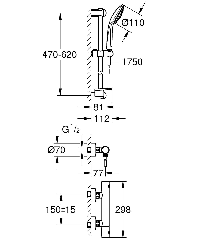 GROHE Mitigeur Thermostatique Bain//Douche Grohtherm 1000 Cosmopolitan M 34441002 Import Allemagne