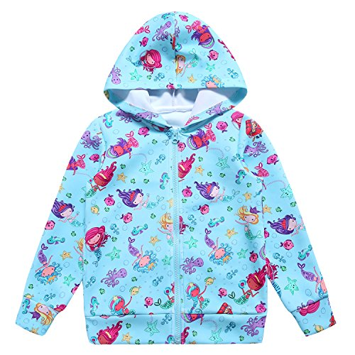(Jxstar Jackets for Kids Blue Jacket Jackets for Girls Bolero Jacket Girls rain Jacket Raincoats Cute Bomber Jacket Fleece Jacket Mermaid 140)