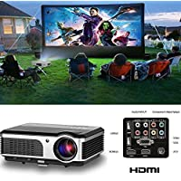 Home Theater Projector Outdoor Indoor, 2600 Lumen Video Projector 1080p for Phone Mac PC USB XBOX PS3 PS4 DVD TV Cable Box,Game Movie Projector with Built in Speakers Keystone Remote Free HDMI Cable