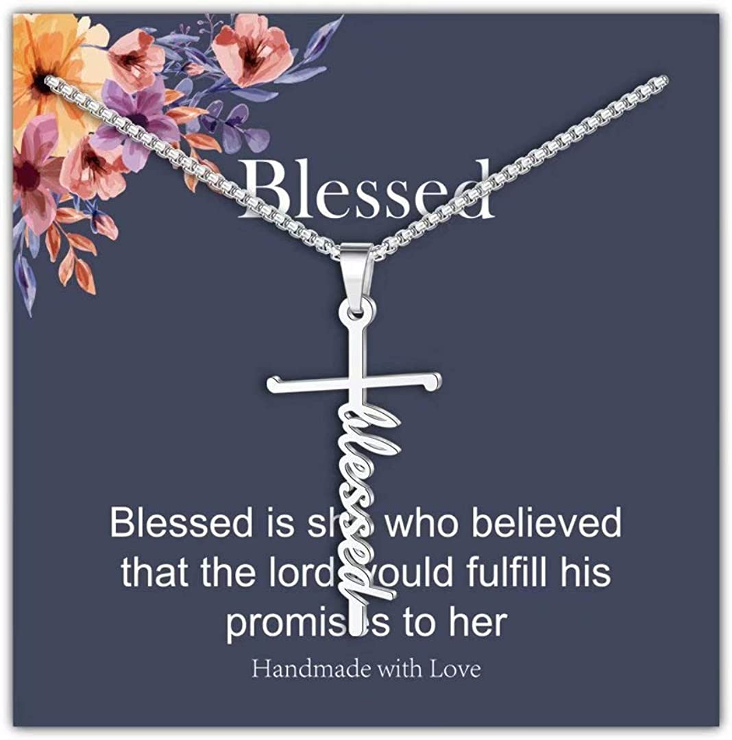Cross Necklace Gift Blessed and Grateful Necklace Simple Necklace Inspirational Jewelry Hand Stamped Jewelry Vertical Bar Necklace