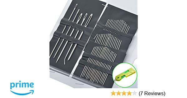 BronaGrand 55 Count//Set Multi-Sized Stainless Steel Big Eye Hand Sewing Needles with 3 Threaders