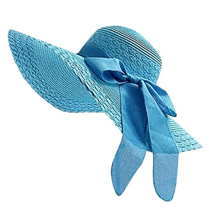 10305e66f00 Image Unavailable. Image not available for. Color  YEZIJIN Women Colorful  Big Brim Straw Bow Hat Sun Floppy ...