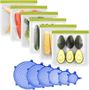 Reusable Gallon Freezer Bag & Silicone Stretch Lid - 12 Packs, 6Pack Reusable Freezer Bags Easy Seal & Leak-Proof, BPA-FREE, 6-Pack Reusable Durable Covers for Bowls, Fit Different Sizes