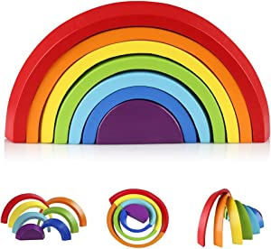 Coogam Wooden Rainbow Stacker Nesting Puzzle Blocks - Tunnel Stacking Game Building Creative Color Shape Matching Jigsaw Learning Toy Set Board Early Development Gift for Kids Boy Girl Toddler