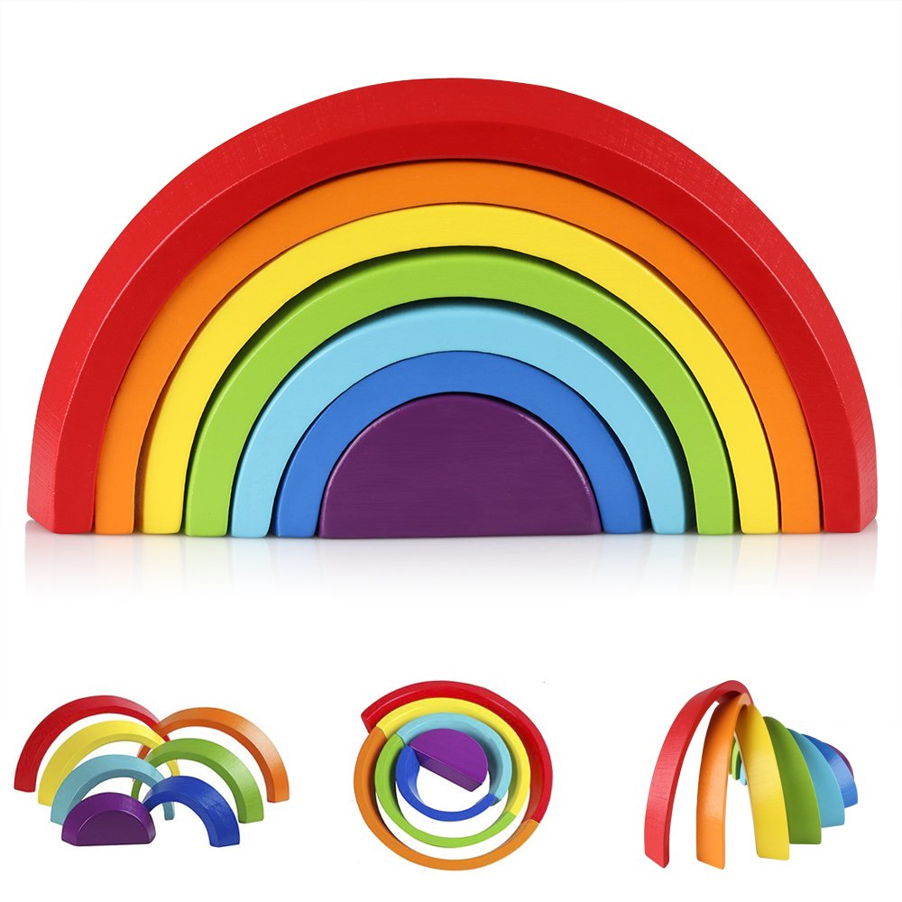 Coogam Wooden Rainbow Stacking Game Color Shape Nesting Building Blocks Creativ Matching Jigsaw Puzzle Game Learning Toy Set Geometric Board Toddler Early Development Gift for Kids Boys Girls Toddler
