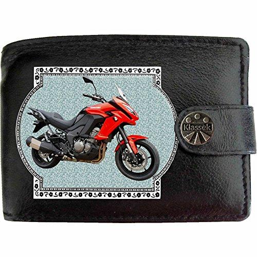 KAWASAKI VERSYS 1000 Rot Bild auf KLASSEK Marken RFID Herren Geldbörse Portemonnaie Echtes Leder Motorrad Bike Zubehör Geschenk mit Metall Box NICHT OFFIZIELLE Kawasaki Produkte