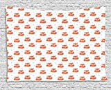 Fox Tapestry, Cute Sleeping Animals Pattern on Heats and Leaves Background Vintage Inspirations, Wall Hanging for Bedroom Living Room Dorm, 80 W X 60 L Inches, Coral Beige