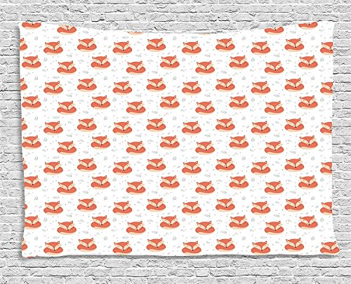 Fox Tapestry, Cute Sleeping Animals Pattern on Heats and Leaves Background Vintage Inspirations, Wall Hanging for Bedroom Living Room Dorm, 80 W X 60 L Inches, Coral Beige by asddcdfdd