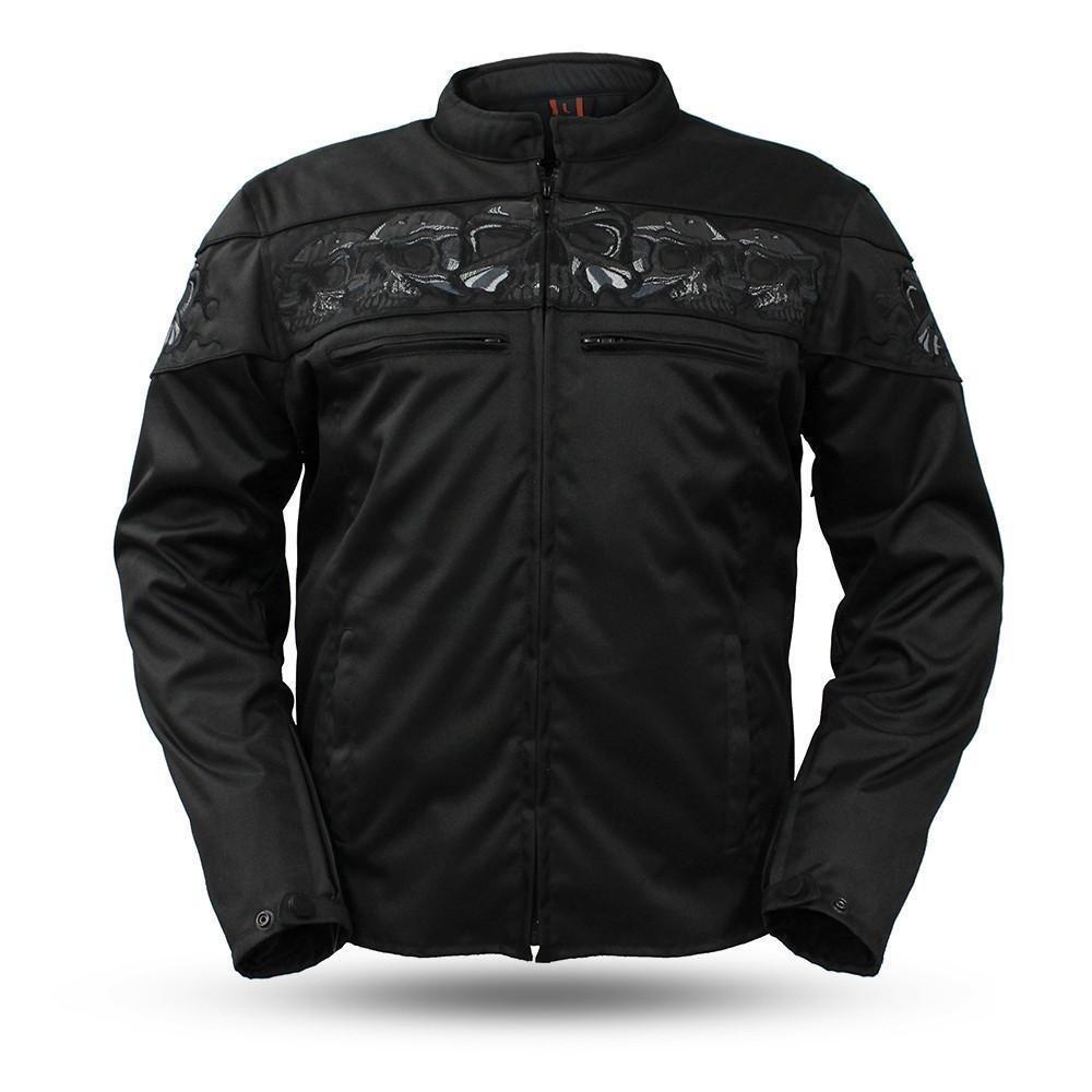 First Manufacturing Men Motorcycle High visibility Savage Skull Reflective Textile Jacket Lightweiht (S Regular)