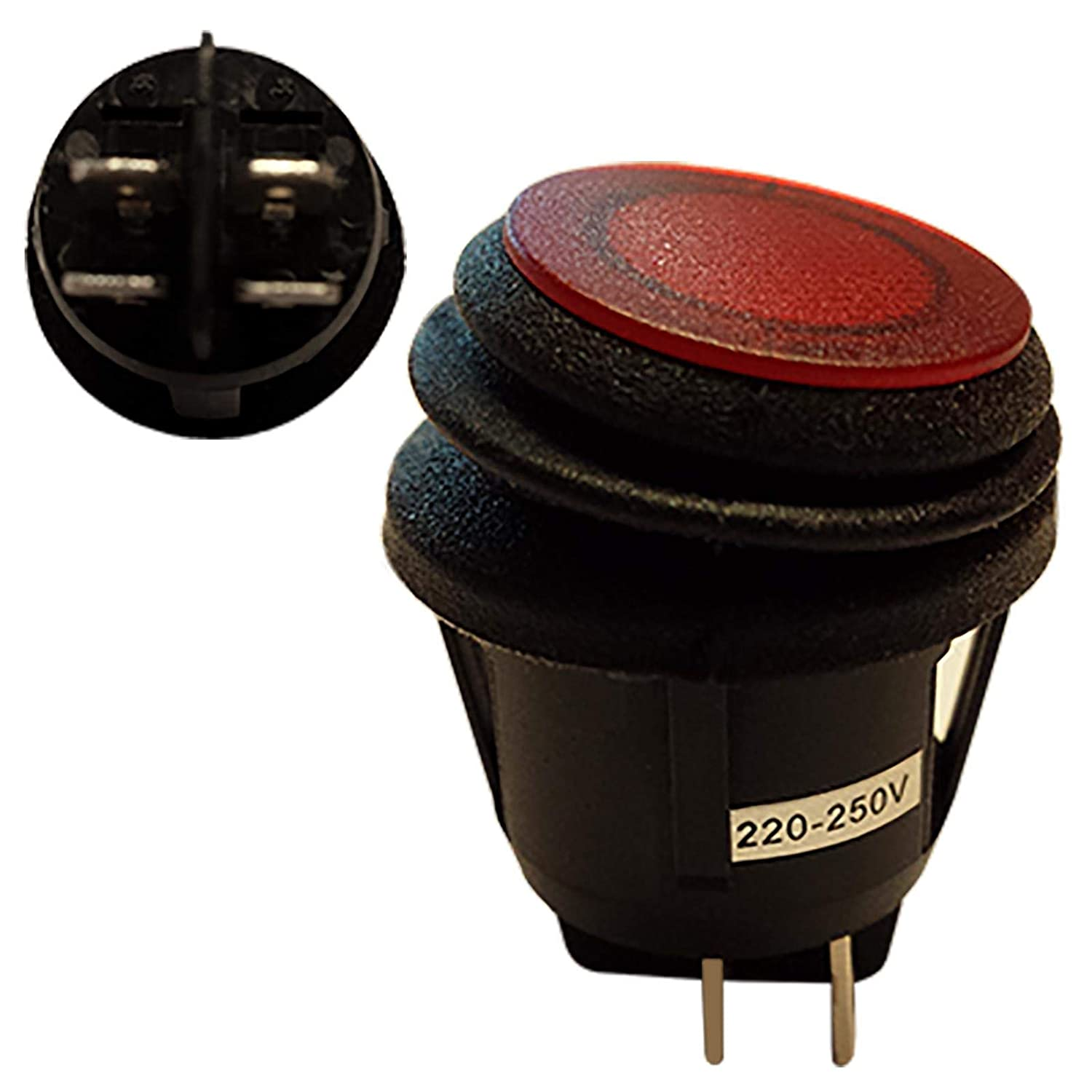 Waterproof Round Illuminated Red DPST Latching Rocker Switch With 230V AC Red Light Cut out:D:20mm SCI