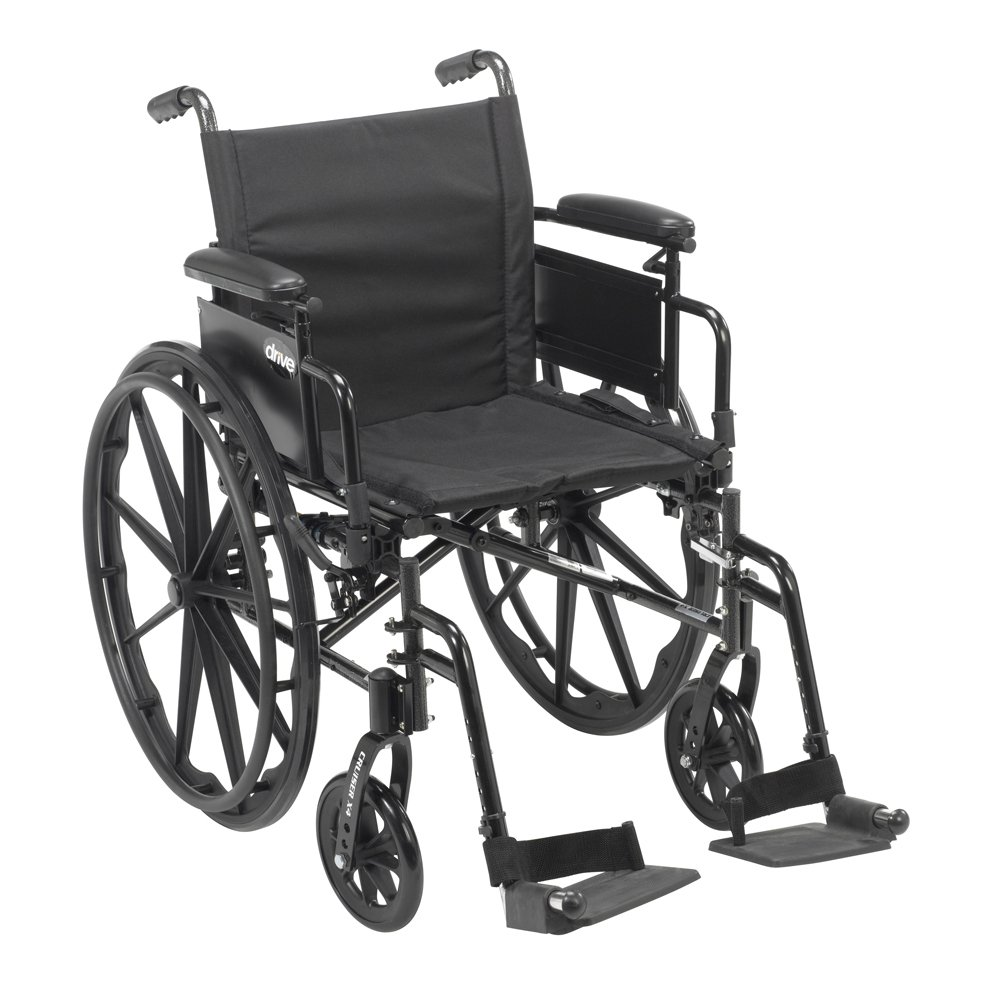 Drive Medical Cruiser X4 Lightweight Dual Axle Wheelchair with Adjustable Detachable Arms, Desk Arms, Swing Away Footrests, 18'' Seat by Drive Medical