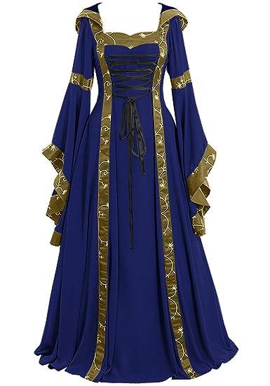 Lecoyeee Vestido Medieval Mujer Disfraz Vintage De Medieval ...