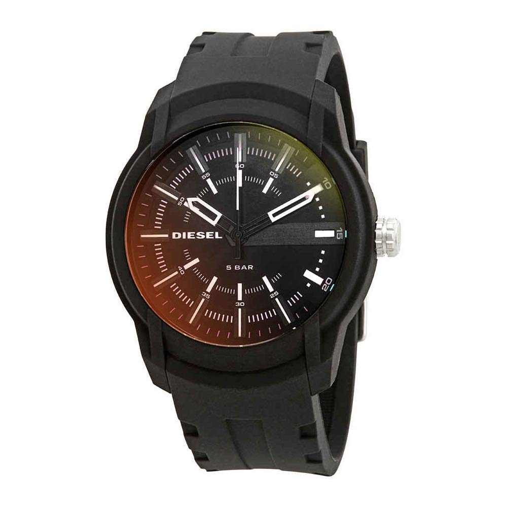 Diesel Men's Armbar Silicone Casual Watch, Color: Black (Model: DZ1819)