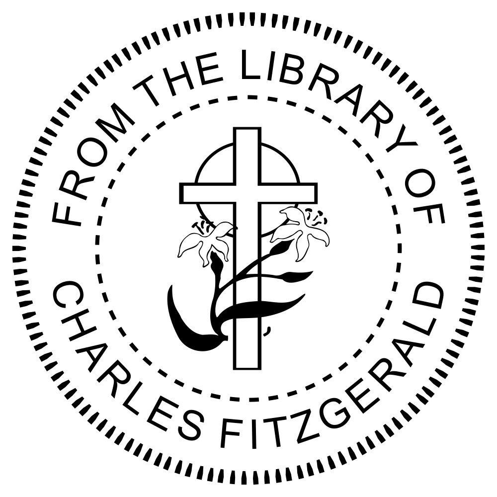 From the Library of Religious Cross & Lily Desk Embosser - Embosser Seal