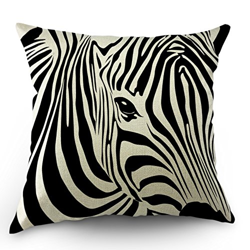 (Moslion Zebra Pillow Cases Home Decorative Animal Stripe Zebra Throw Pillow Throw Pillow Covers 18