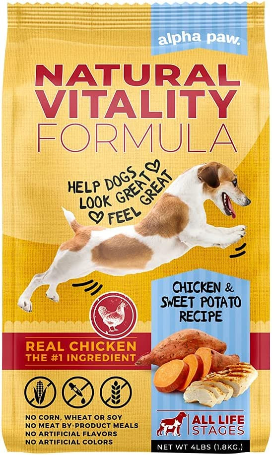 Alpha Paw Adult Natural Dry Dog Food for All Breeds and Sizes, with Real Chicken and Sweet Potato Flavor (4 lbs)