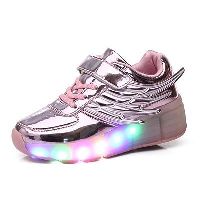 Meurry Kinderschuhe mit Rollen LED Skate Schuhe Roller Skate Shoes Rollen Schuhe Skateboard Schuhe Schuhe mit Rollen Kinder Jungen Mädchen Automatisch(38EU,Rosa)