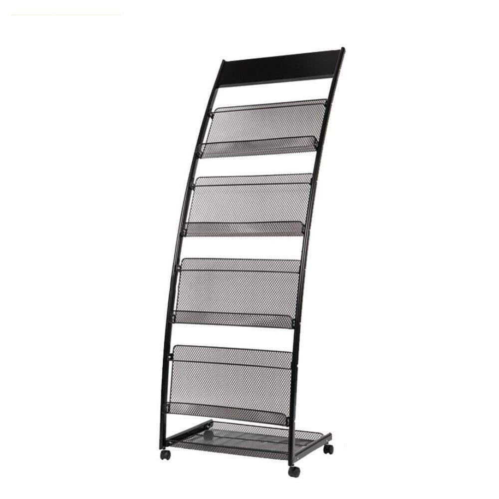 Corridor 4-Story Magazine Rack Portable Promotional Display Wrought Iron Bookshelf 4 Wheels Detachable Size : 48x38x140cm