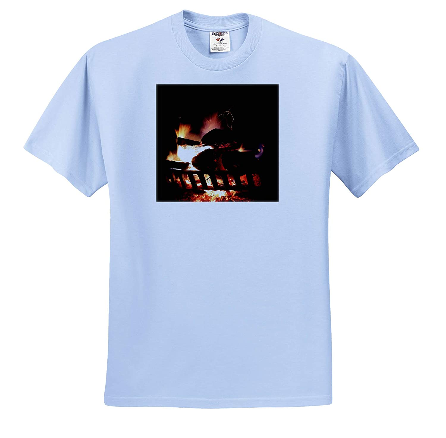 3dRose Stamp City Nature Photgraph of a Very hot fire in an Outdoor Fireplace - T-Shirts