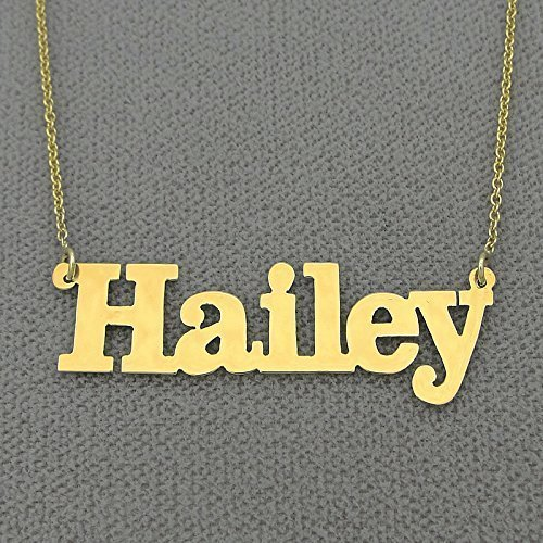 14k Gold Name Necklace Personalized Laser Cut Block Font Nameplate Charm (14k Polished Block)