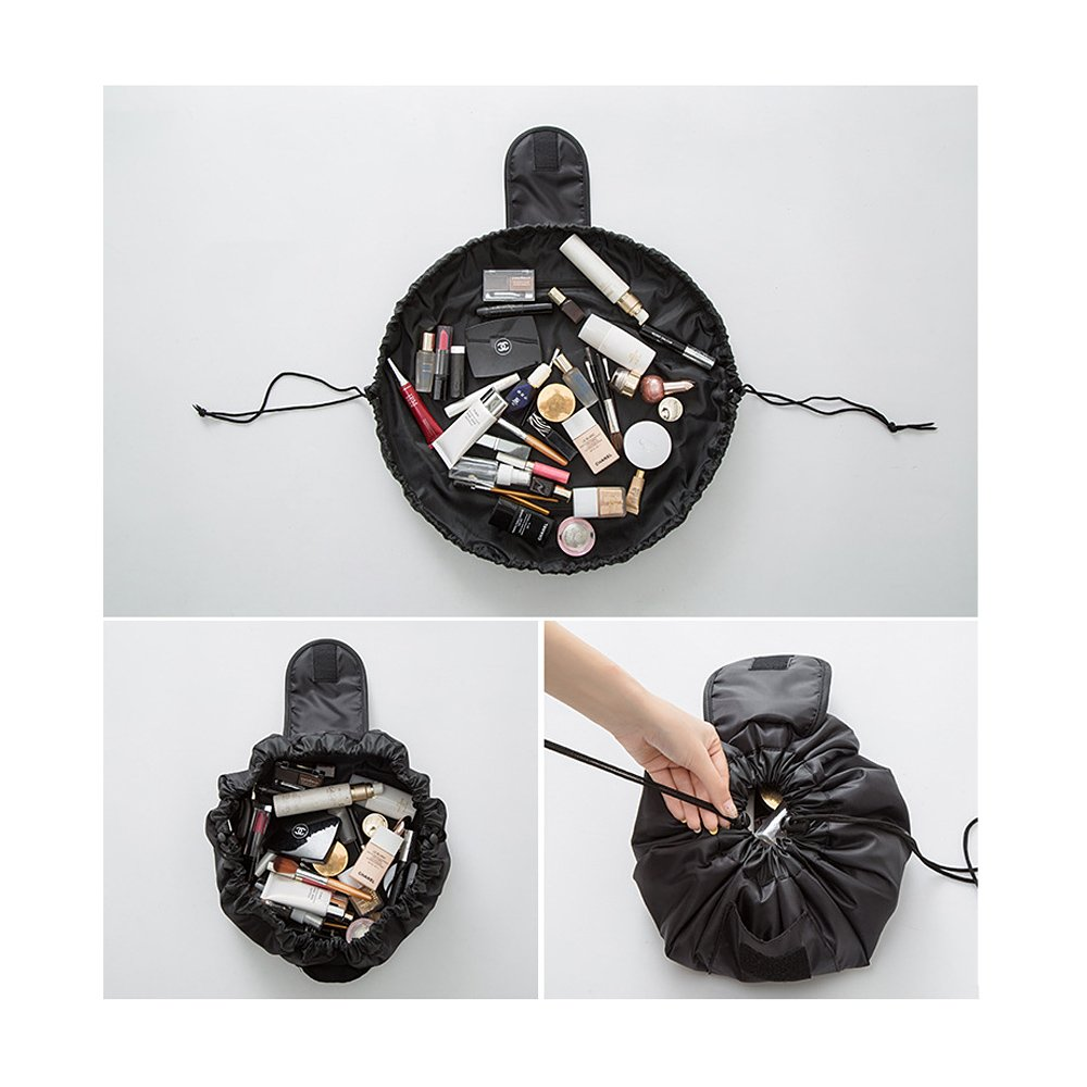 High Capacity Drawstring Travel Portable Lazy Cosmetic Bags Make Up Pouch Black Tong Yue