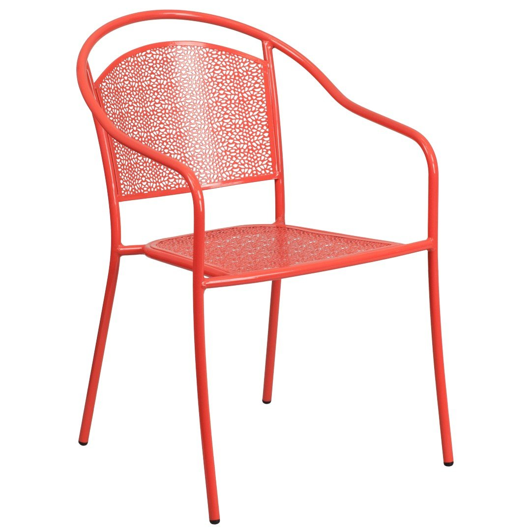 MFO Coral Indoor-Outdoor Steel Patio Arm Chair with Round Back