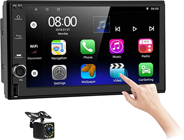 Amazon Com Android Car Stereo Double Din With Navigation7 Inch Hd Touch Screen Car Multimedia Radio Audio Support Bluetooth Fm Gps Wifi Usb Port Phone Mirror Link Split Screen With Backup Camera Gps