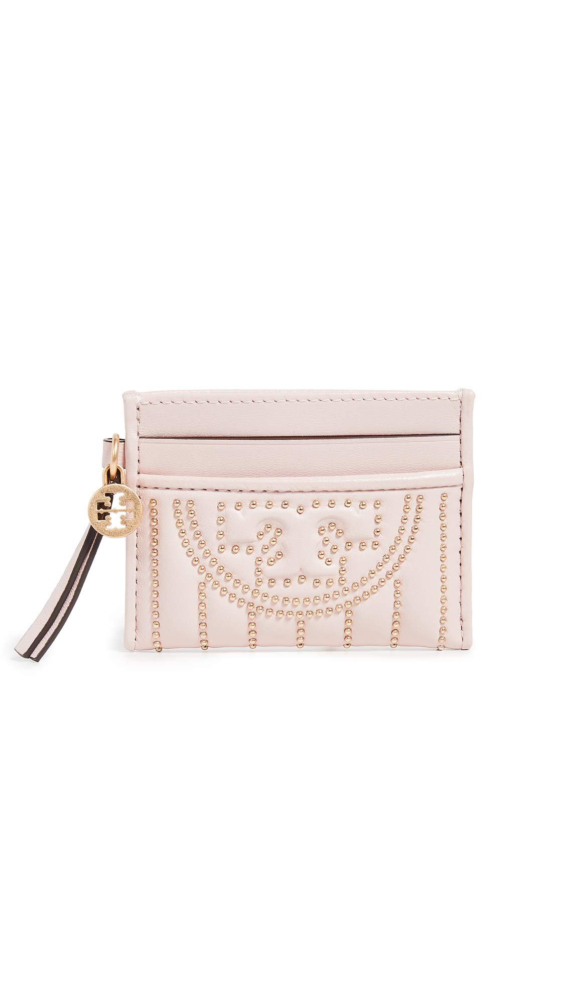 Tory Burch Women's Fleming Mini Stud Slim Card Case, Shell Pink, One Size