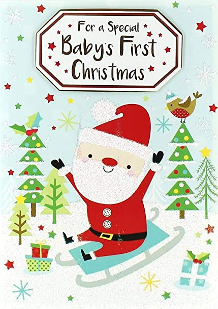 First Christmas Card.Baby S First Christmas Card Cute Santa Claus Presents