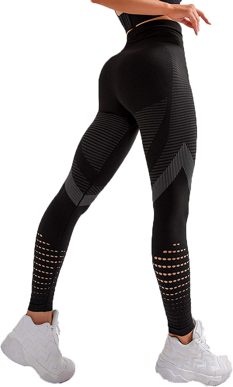 FITTOO Leggings Sin Costuras Corte de Malla Mujer Pantalon Deportivo Alta Cintura Yoga Elásticos Fitness Seamless