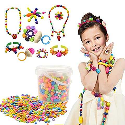 500 Pcs Arty Snap Beads Set with Storage Box, XFee Creative DIY Jewelry Kit for Headwear Necklace Earrings Bracelets Rings , Idea Art Crafts Gift Toys for Kids Toddlers - Bead Craft Ideas