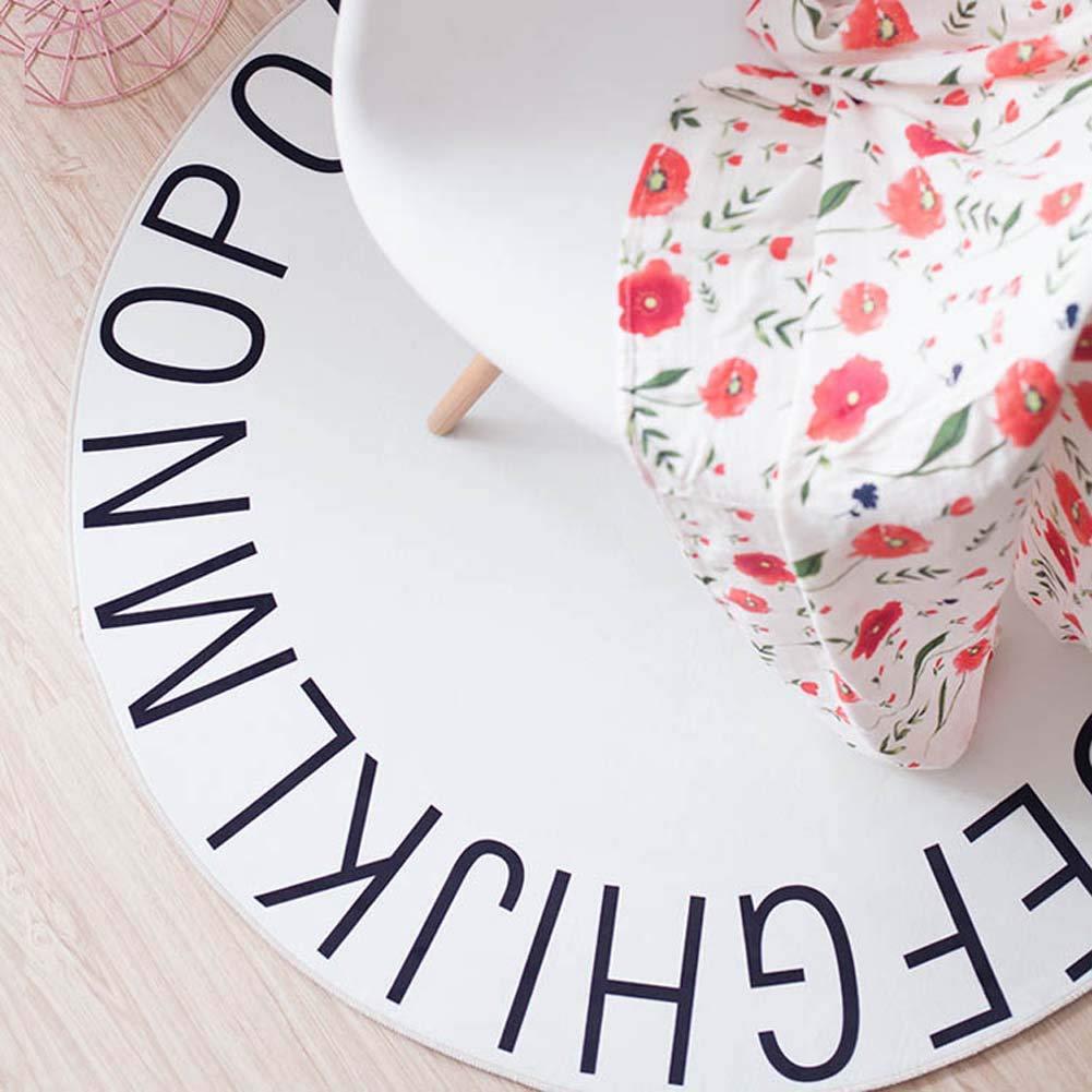 Rose Homieco Solide Couleur Tapis Rond Alphabet Apprentissage Enfant Tapis De Jeu Doux Confortable Tapis B/éb/é Chambre P/épini/ère Teepee Tente D/écoration 47.3inch