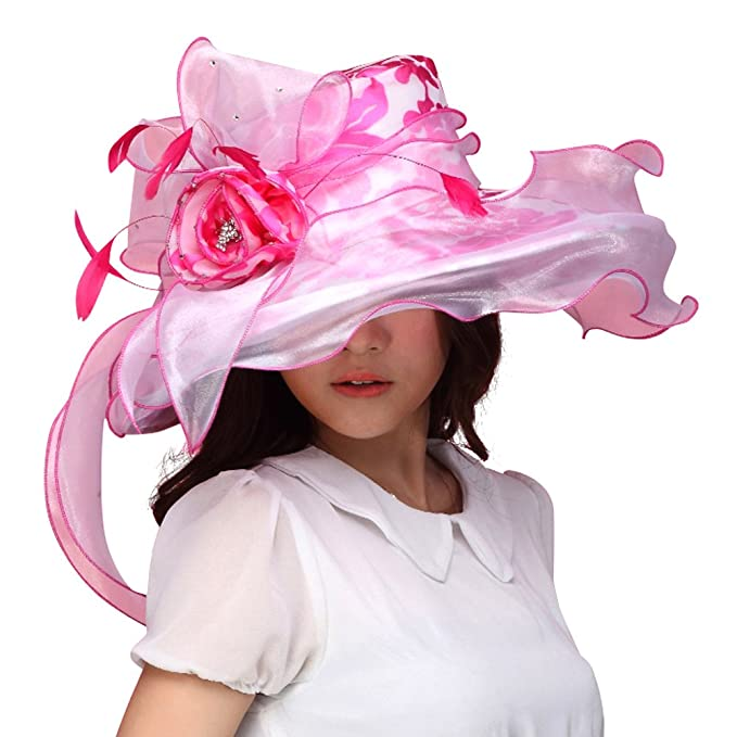 689e62c3e0f69 Image Unavailable. Image not available for. Color  June s Young Women Sun Hat  Kentucky Derby Wide Brim Floppy ...