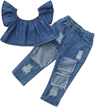 Summer New 2PCS Toddler Kids Girls Cute Off Should Shirt Tops Floral Denim Long Pants