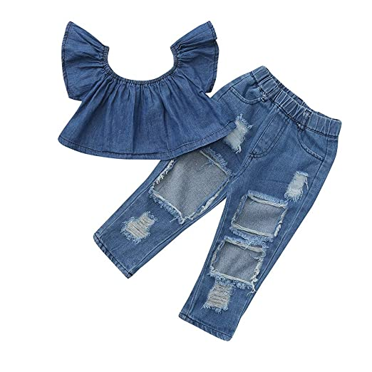 3e075680c3c6 Amazon.com  Toddler Baby Girls Off Shoulder Solid Tops+Hole Denim ...