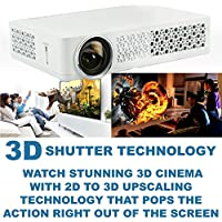 MWGEARS DH-3DAi 1280x800 WXGA 500 Lumens 10000:1 16:10 WIFI 3D Portable DLP Projector w/A20 CPU, Andriod 4.2 OS (White)