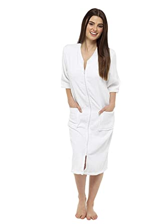Towelling Bathrobes 100 Cotton Dressing Gown For Women Button