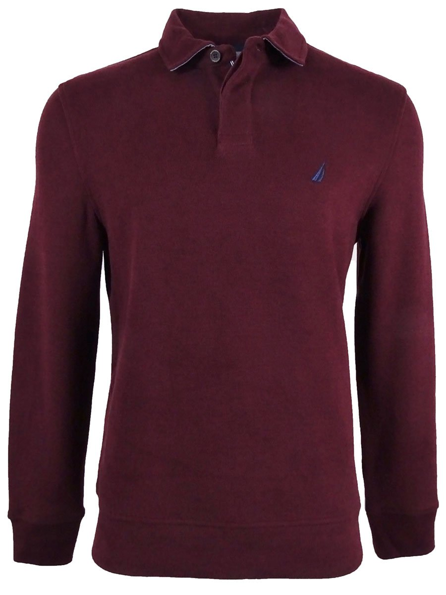 Nautica Men's Classic Fit French Ribbed Polo Sweater Maroon XL by Nautica