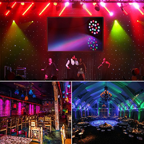 Stage Lights, LaluceNatz 18x1W RGB LED Par Lights DJ Lights Sound Activated Uplighting for Wedding Church Stage Lighting by Power Linking, IR Remote DMX (4 Pack)