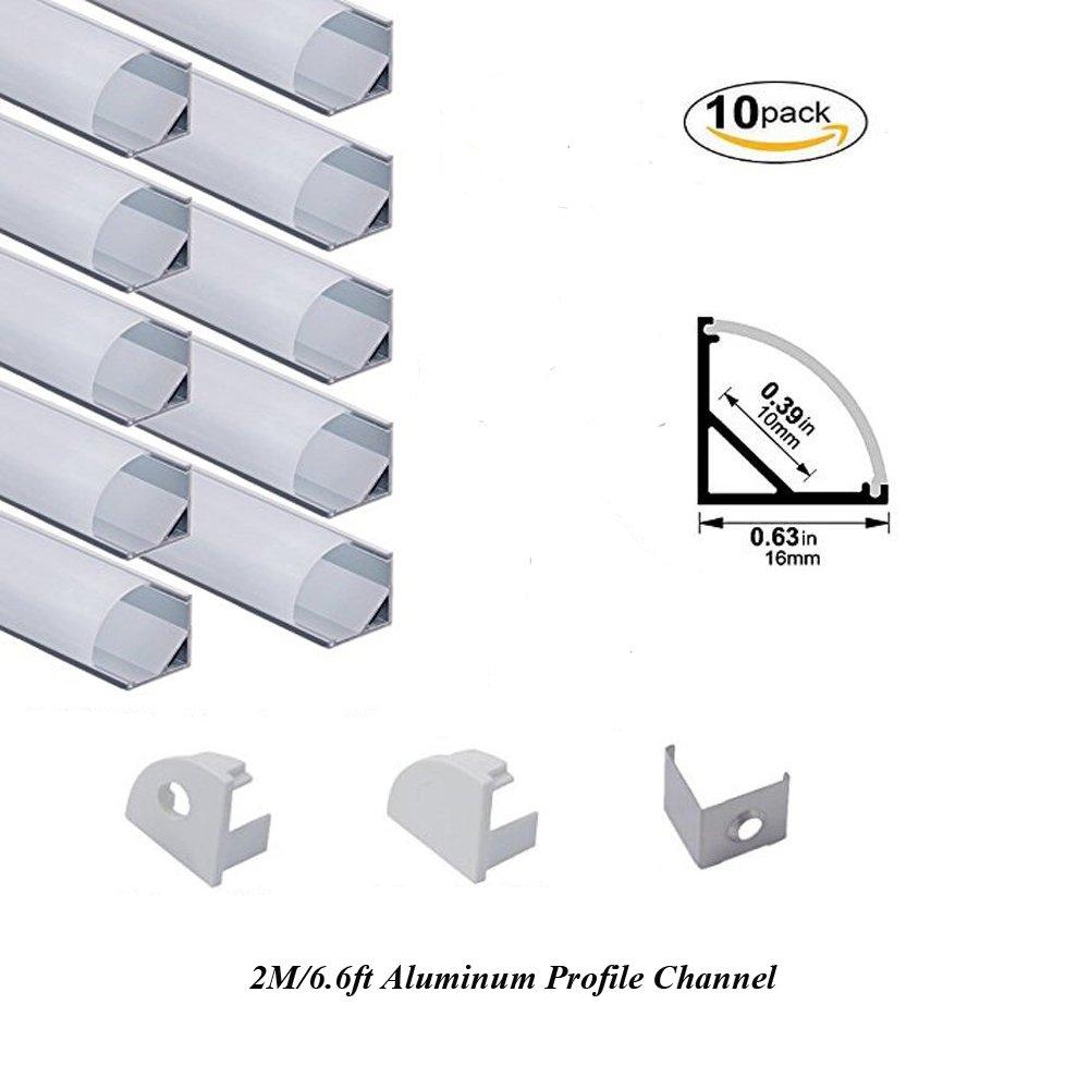 Hanks 10Pack 2M/6.6ft 16X16mm Corner LED Channel,V Shape Aluminum Profile Housing for 10mm PCB LED Strip Light (10X2M Milk) by Hanks