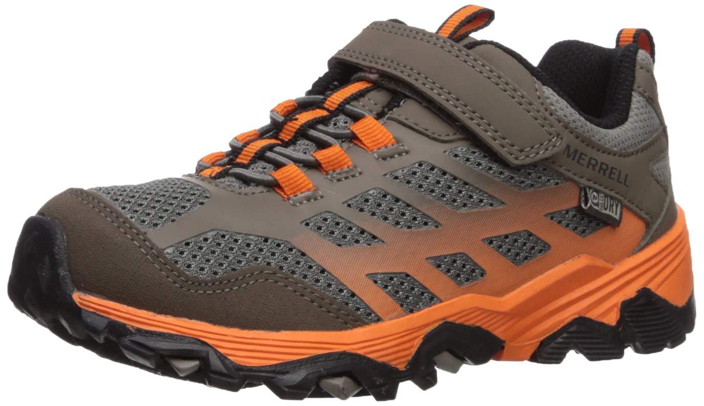 Merrell Boys' Moab FST Low A/C WTRPF Hiking Shoe, Brown/Orange, 12.5 M US Little Kid
