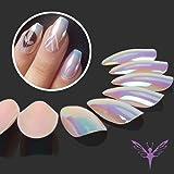 Ejiubas Press On Nails Chrome Stiletto Nail Tips Fake Nails with Nail Glue, 24 Pcs 12 Sizes