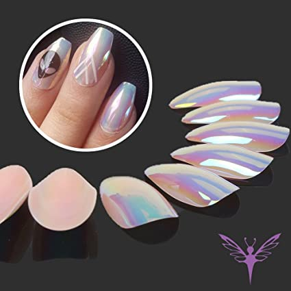 ejiubas Press On Nails cromo Stiletto uñas Tips Uñas Postizas con pegamento de uñas, 24