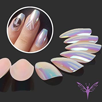 Ejiubas Press On Nails Chrome Stiletto Nail Tips Fake With Glue 24 Pcs