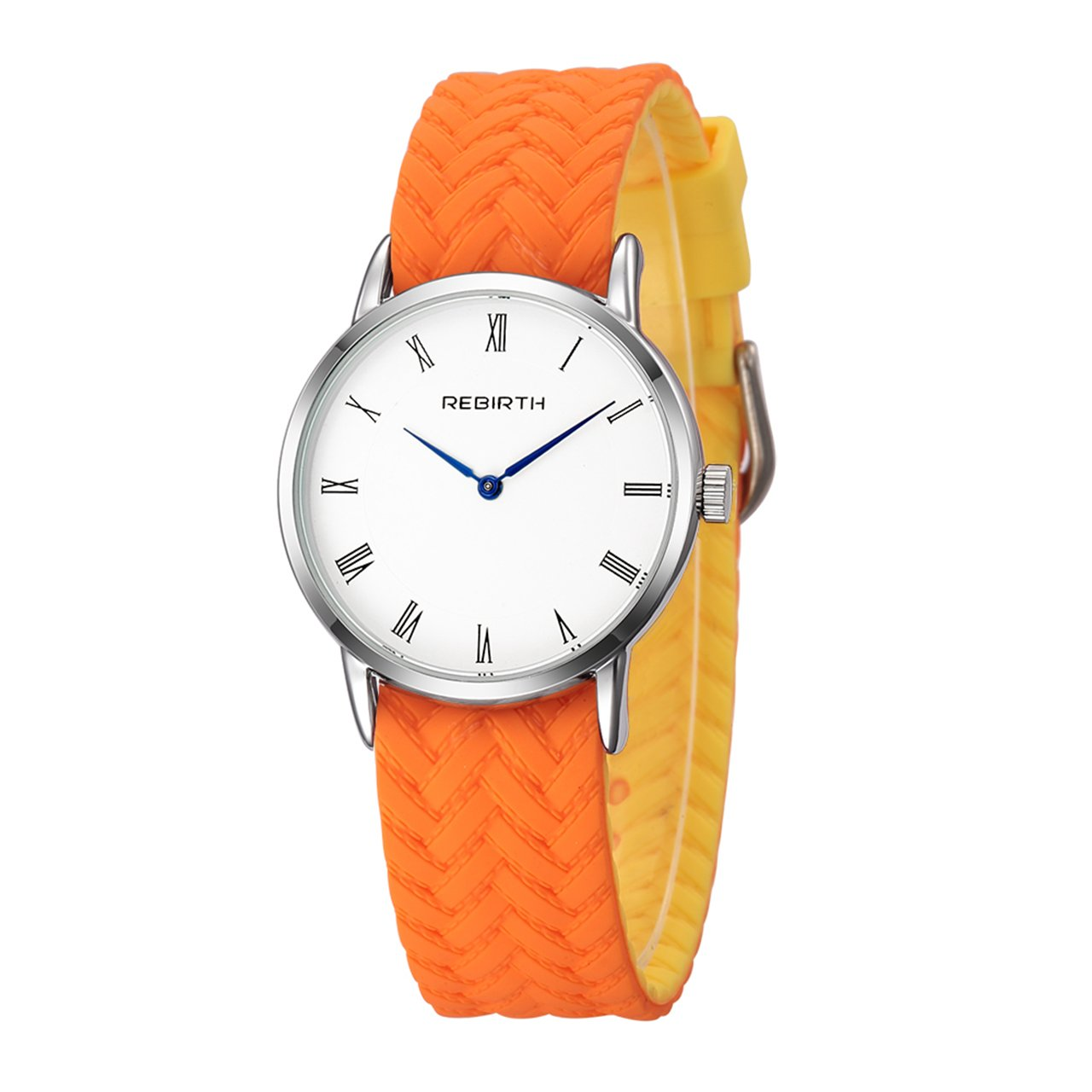 Top Plaza Unisex Casual Simple Silicone Strap Analog Quartz Watch Unique Reversible Doulbe Color Band Japanese Quartz Waterproof Watch(Orange and Yellow)