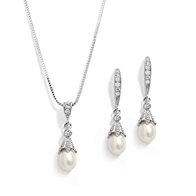 57395e424 Amazon.com: Mariell Wedding Necklace & Earrings CZ Jewelry Set with Dainty  Freshwater Pearl for Bridesmaids & Brides: Jewelry